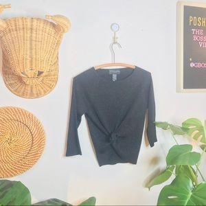 Vintage 90's Black Ribbed Shimmer Crop Top